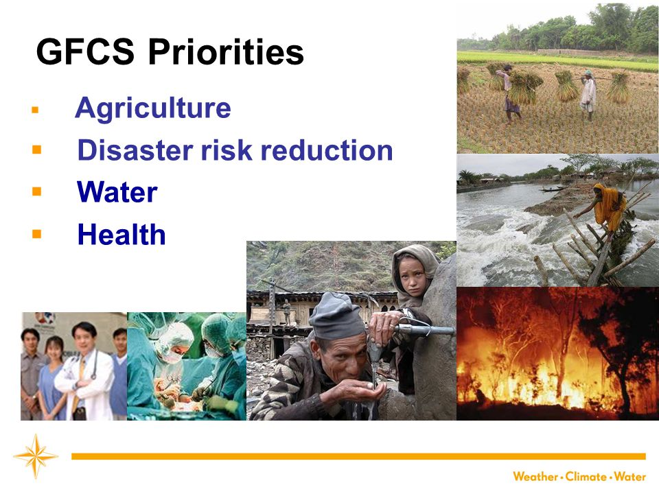 GFCS Priorities Agriculture Disaster risk reduction Water Health