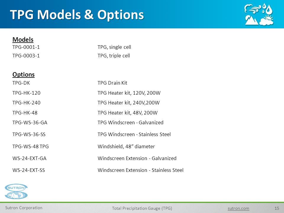 TPG Models & Options Models Options TPG-0001-1 TPG, single cell