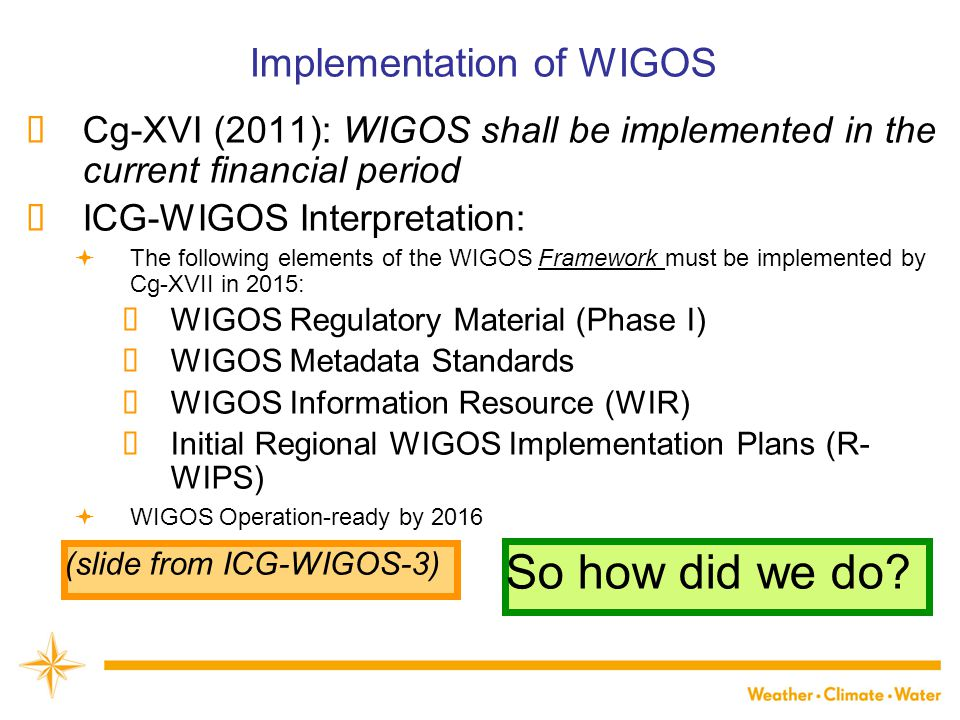 Implementation of WIGOS