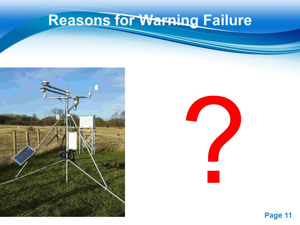 Reasons for Warning Failure