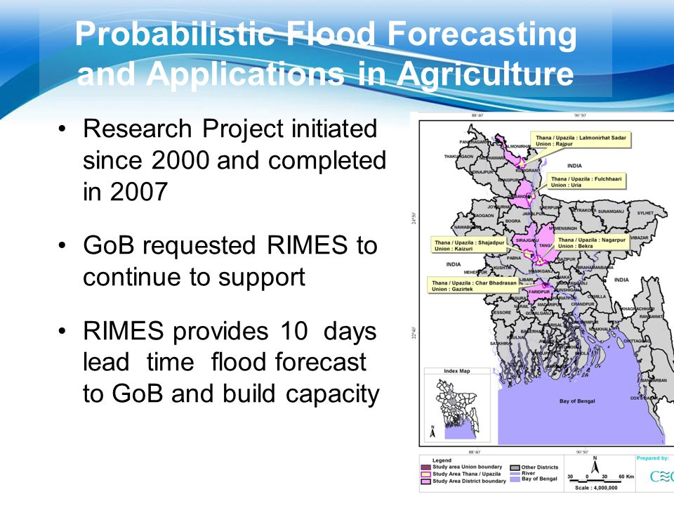 Probabilistic Flood Forecasting and Applications in Agriculture