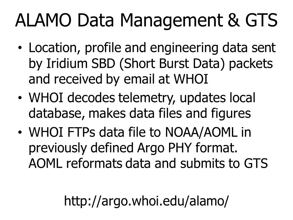 ALAMO Data Management & GTS