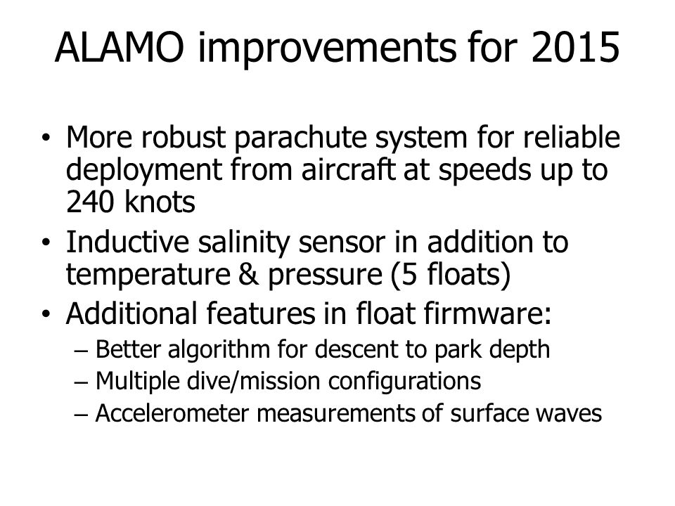 ALAMO improvements for 2015