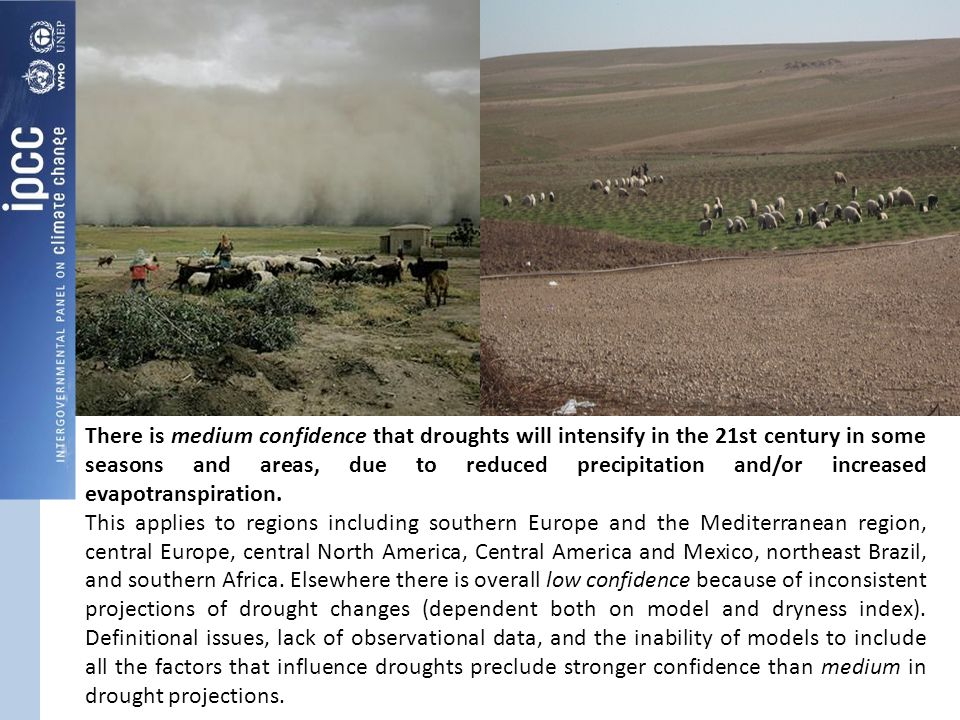 There is medium confidence that droughts will intensify in the 21st century in some seasons and areas, due to reduced precipitation and/or increased evapotranspiration.