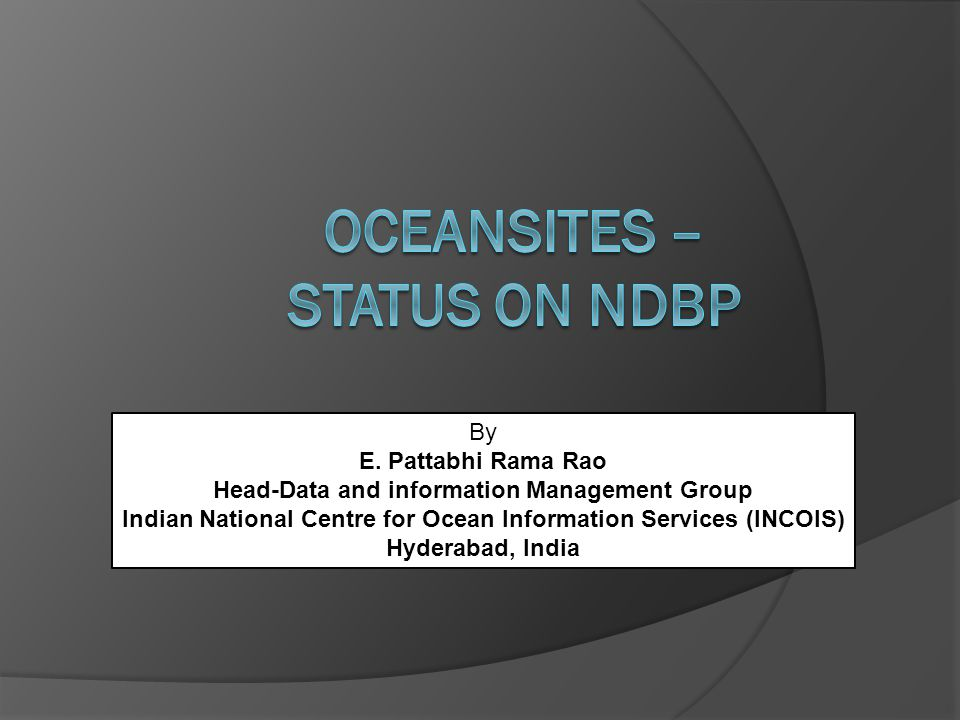 OceanSITES – STATUS on NDBP