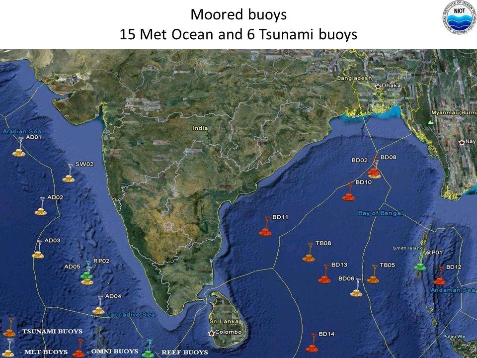 Moored buoys 15 Met Ocean and 6 Tsunami buoys