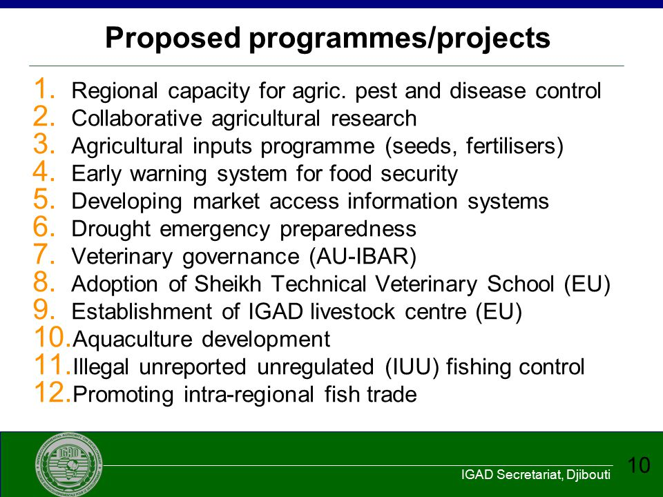 Proposed programmes/projects