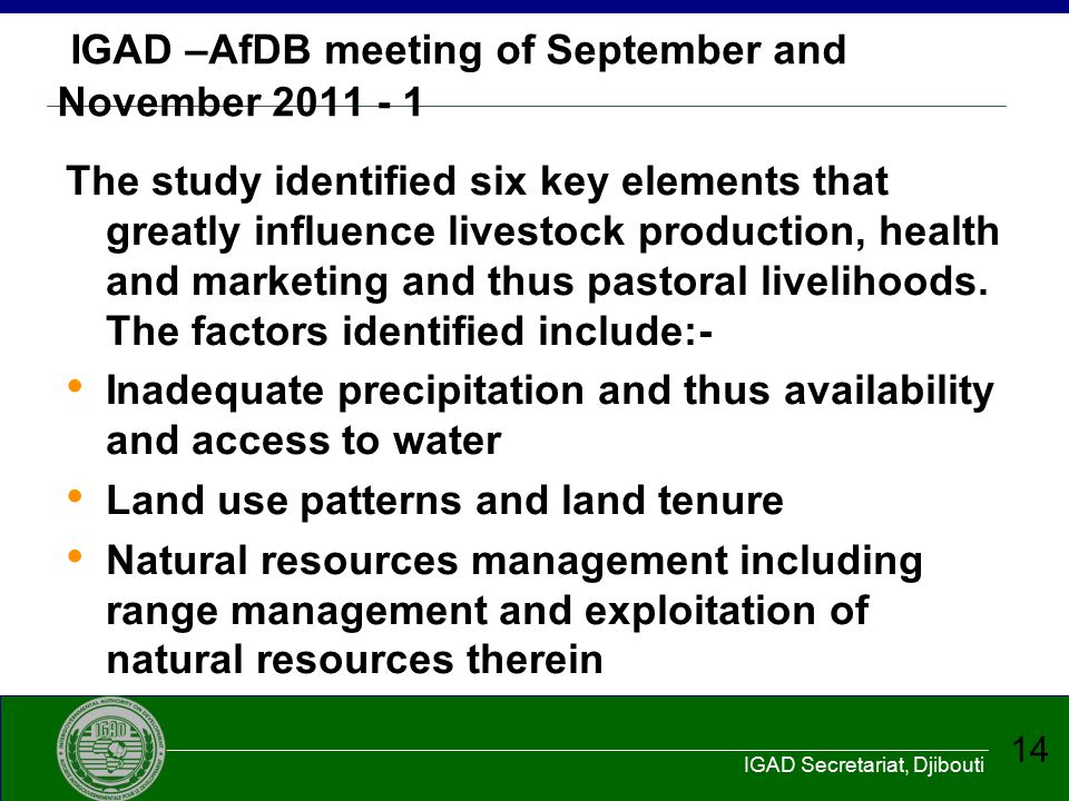 IGAD –AfDB meeting of September and November 2011 - 1