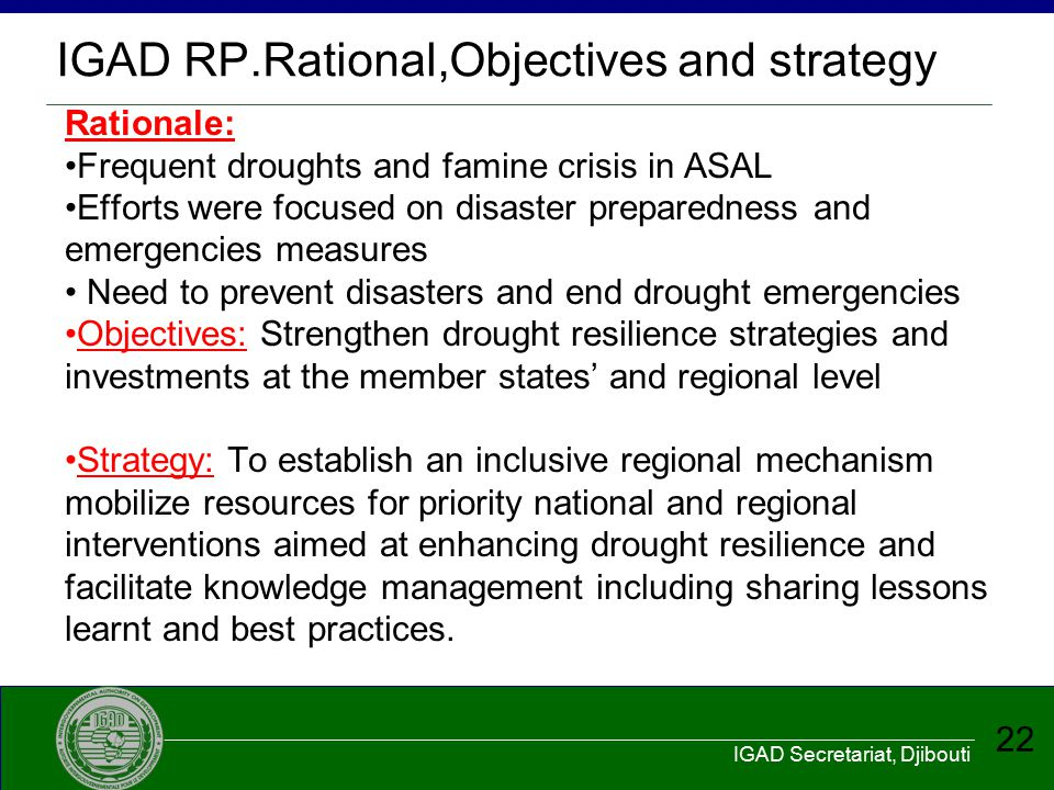 IGAD RP.Rational,Objectives and strategy