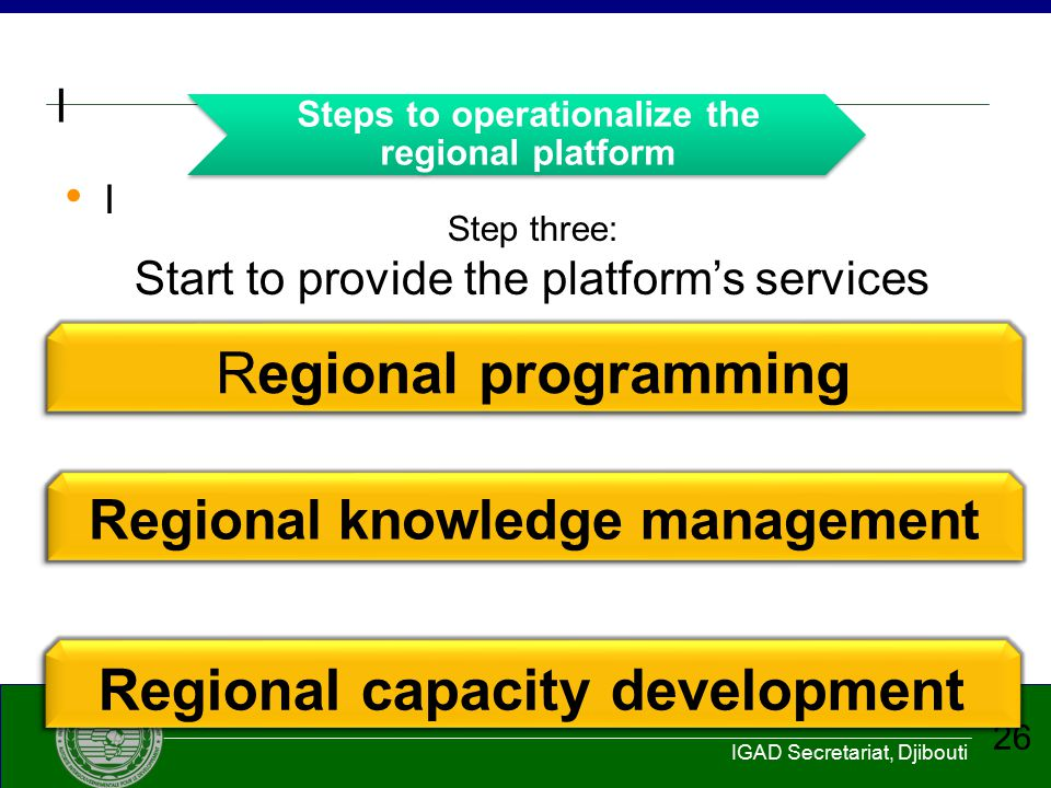 Steps to operationalize the regional platform