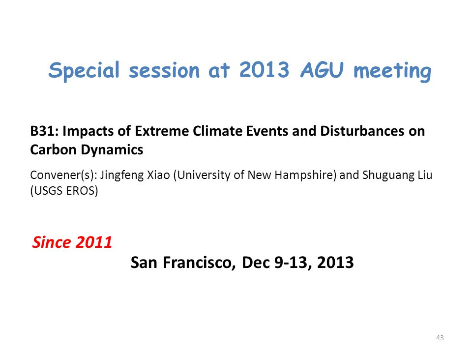 Special session at 2013 AGU meeting