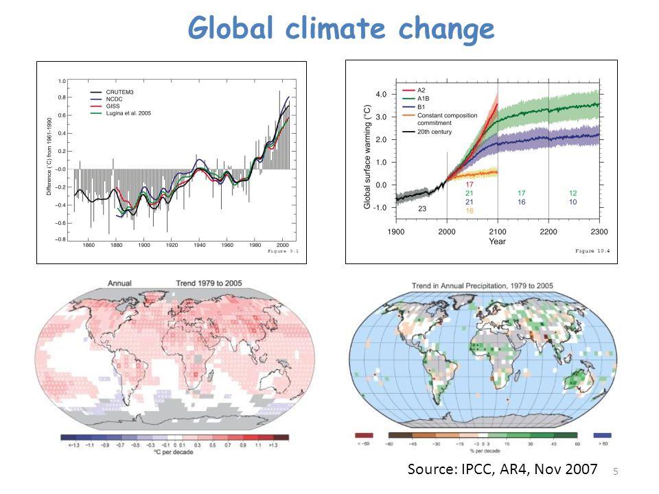 Global climate change Source: IPCC, AR4, Nov 2007
