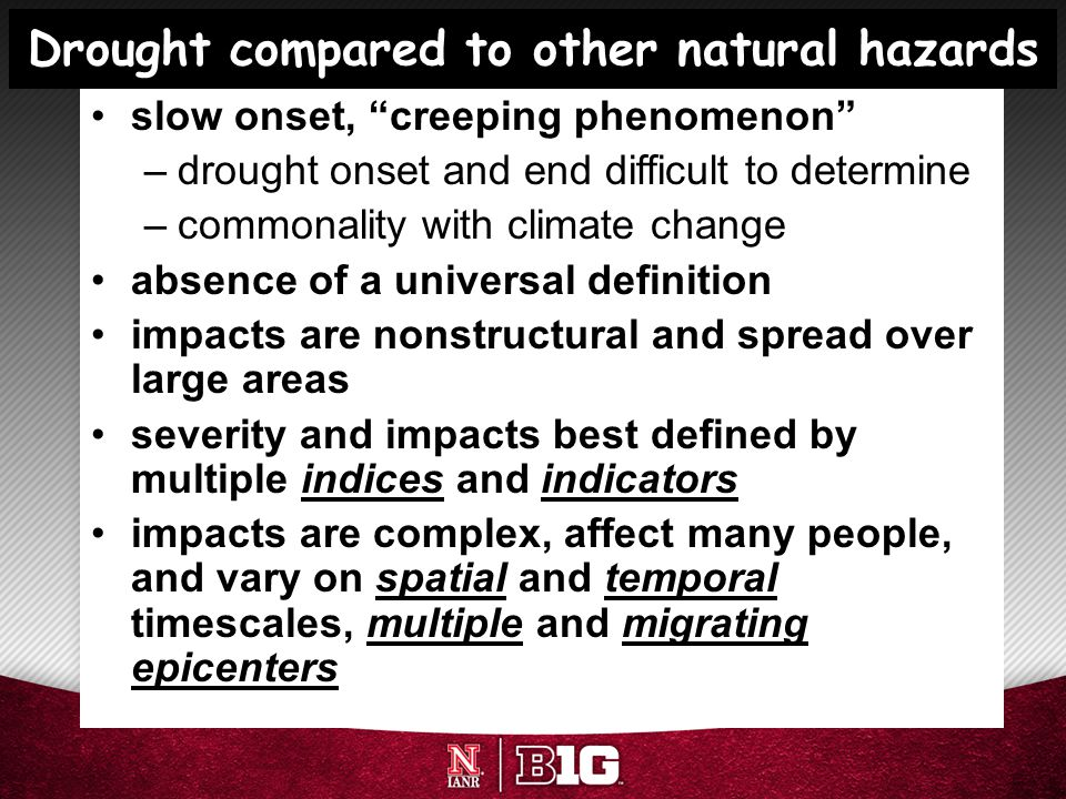 Drought compared to other natural hazards