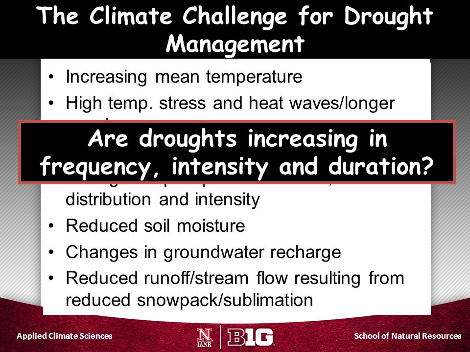 The Climate Challenge for Drought Management