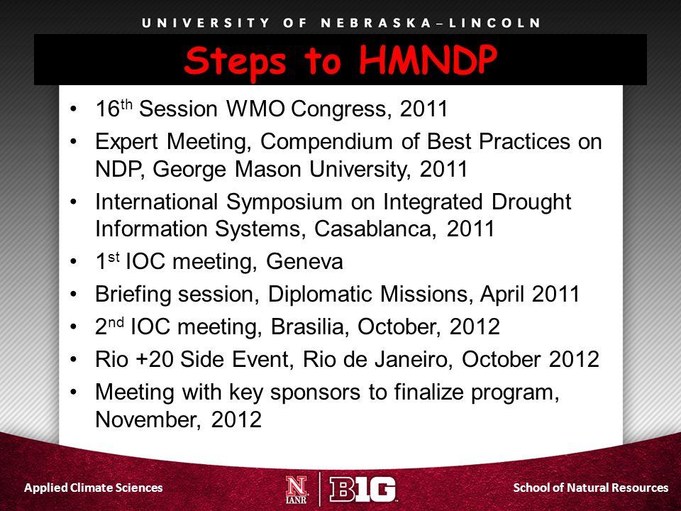 Steps to HMNDP 16th Session WMO Congress, 2011