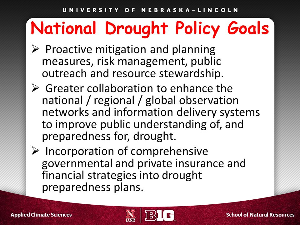 National Drought Policy Goals