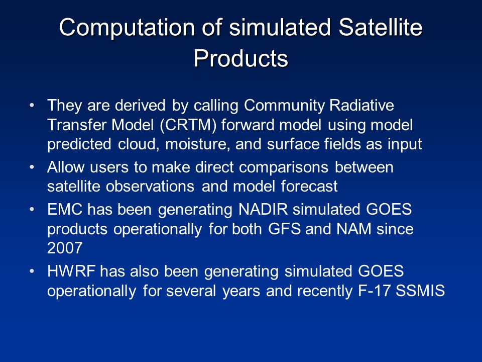 Computation of simulated Satellite Products