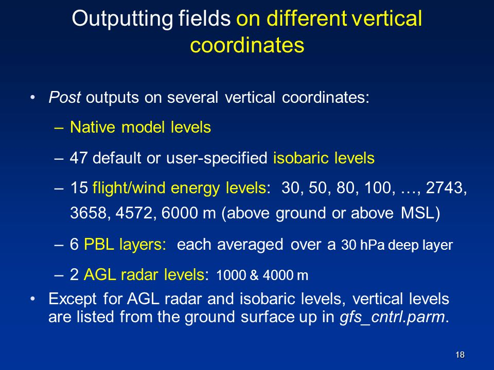 Outputting fields on different vertical coordinates