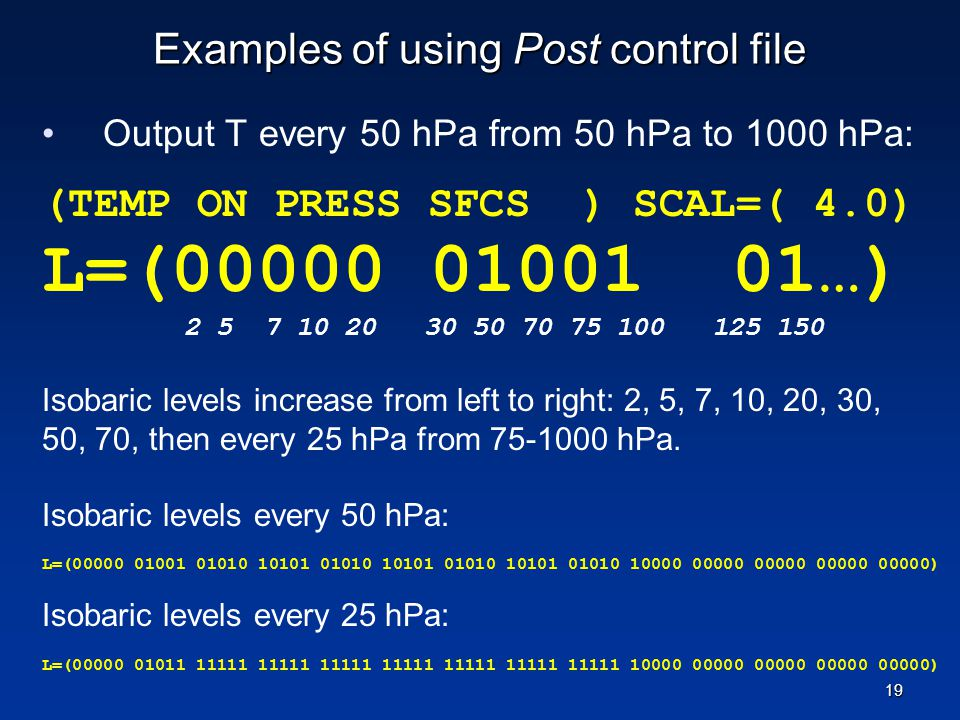 Examples of using Post control file
