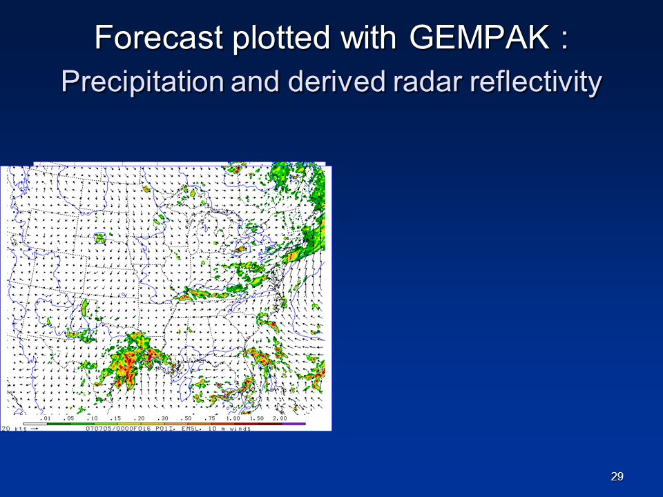 Forecast plotted with GEMPAK : Precipitation and derived radar reflectivity