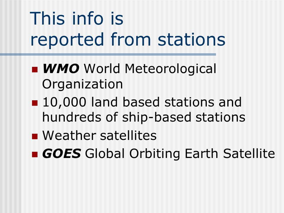 This info is reported from stations
