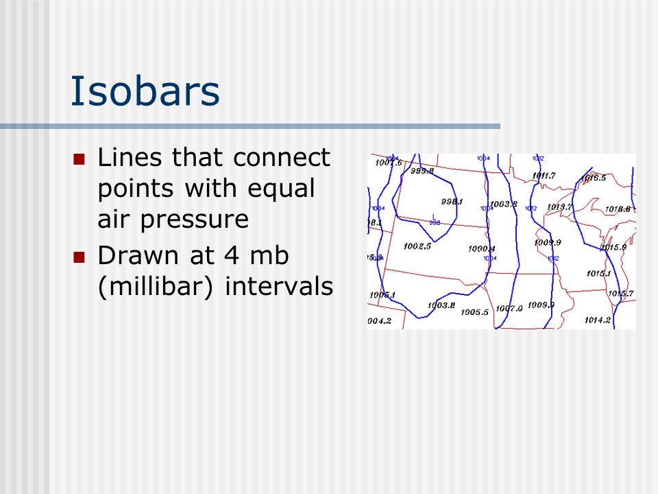 Isobars Lines that connect points with equal air pressure
