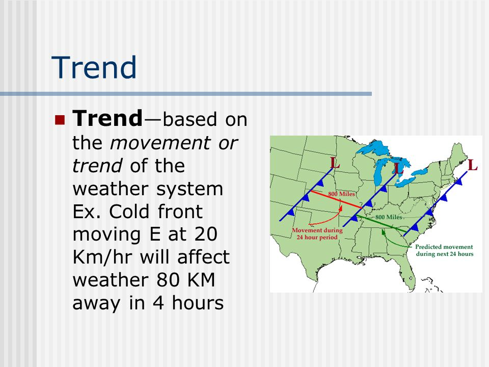 Trend Trend—based on the movement or trend of the weather system Ex.