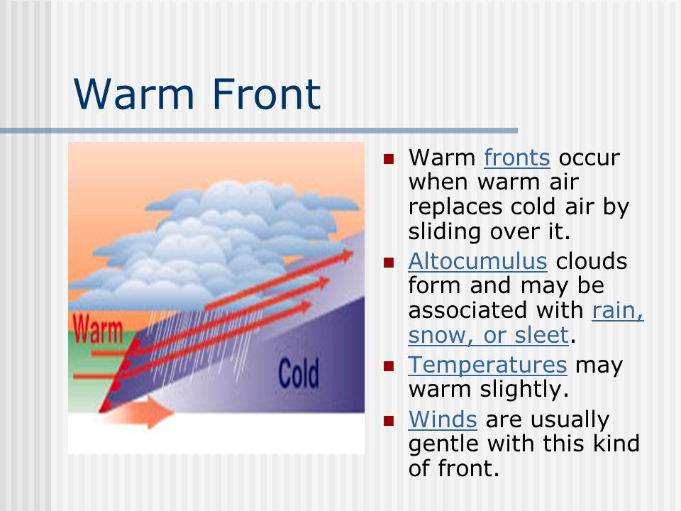 Warm Front Warm fronts occur when warm air replaces cold air by sliding over it.