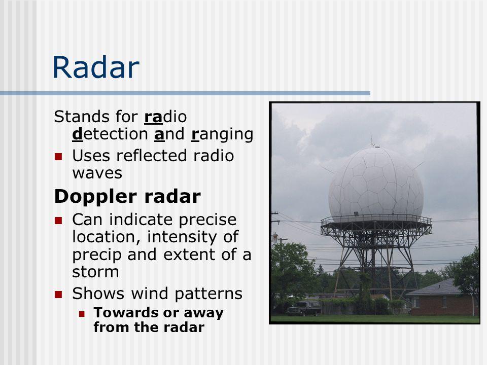Radar Doppler radar Stands for radio detection and ranging