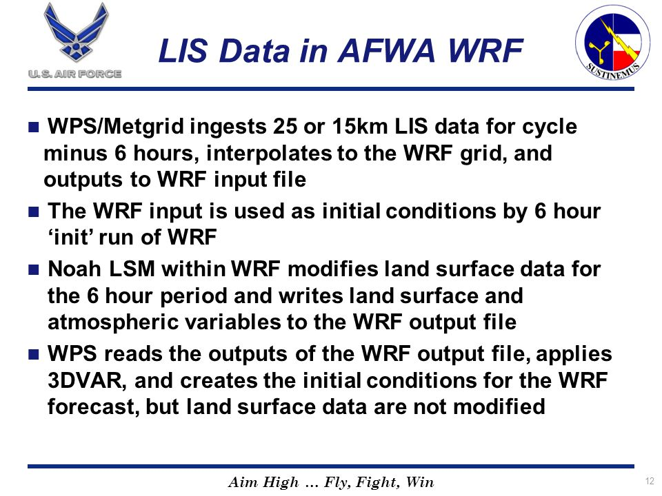 LIS Data in AFWA WRF WPS/Metgrid ingests 25 or 15km LIS data for cycle minus 6 hours, interpolates to the WRF grid, and outputs to WRF input file.