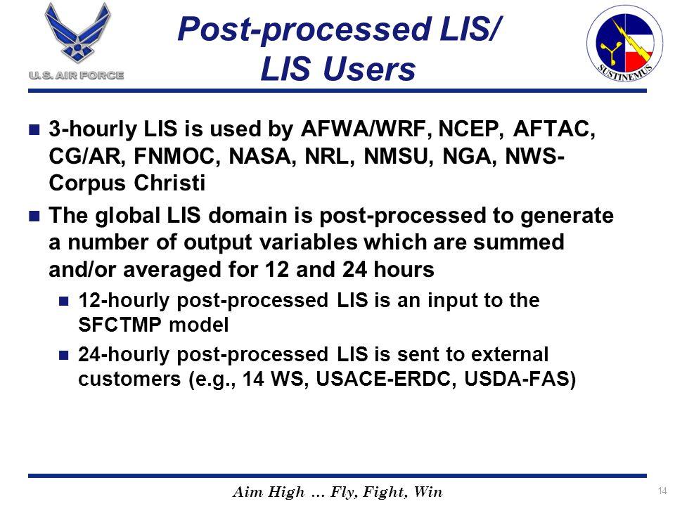 Post-processed LIS/ LIS Users
