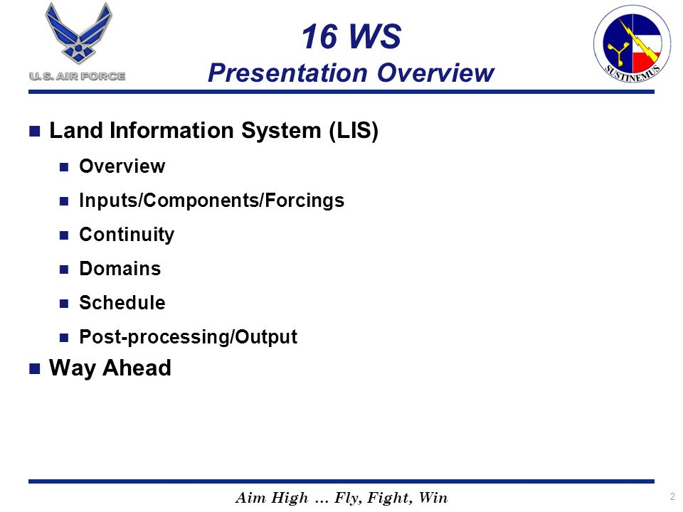 16 WS Presentation Overview