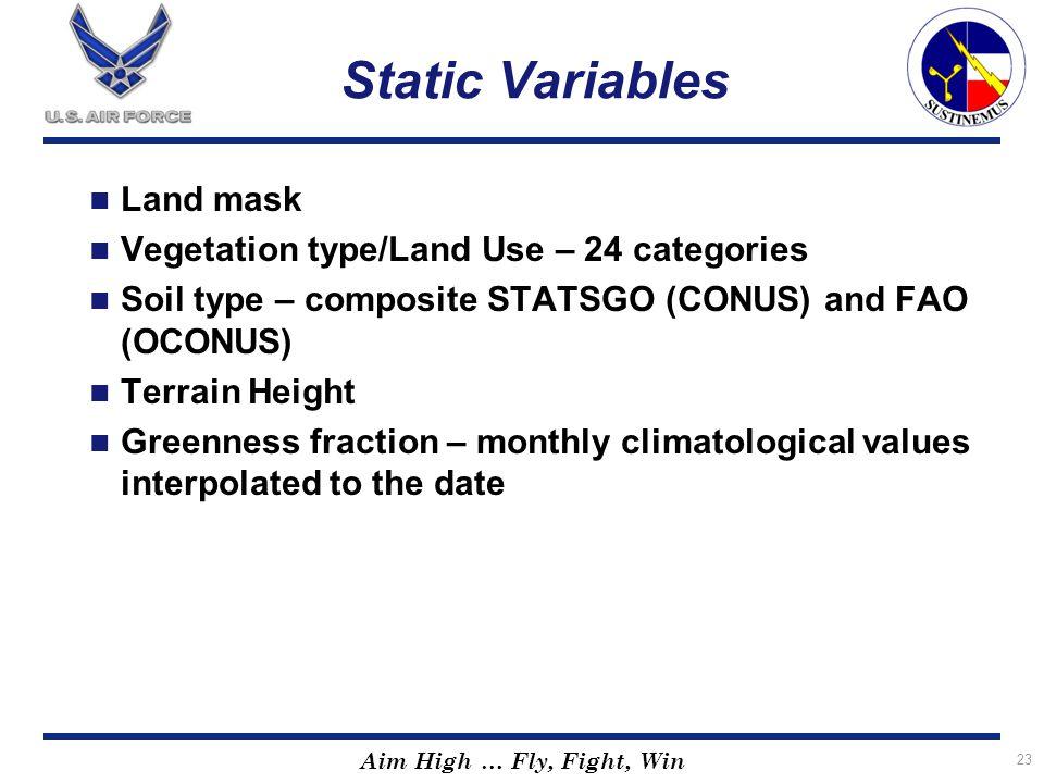 Static Variables Land mask Vegetation type/Land Use – 24 categories