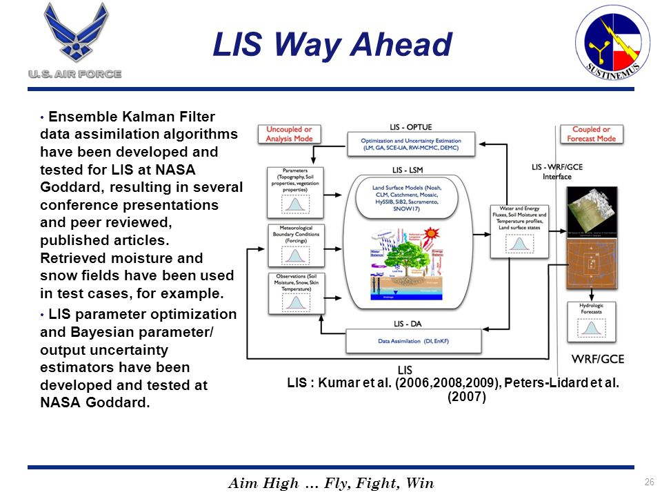 LIS : Kumar et al. (2006,2008,2009), Peters-Lidard et al. (2007)