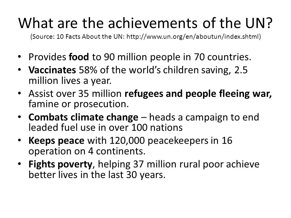 What are the achievements of the UN