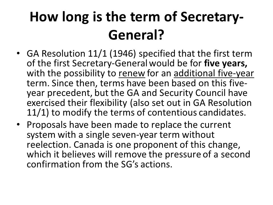 How long is the term of Secretary-General