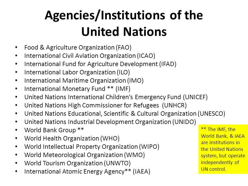 Agencies/Institutions of the United Nations