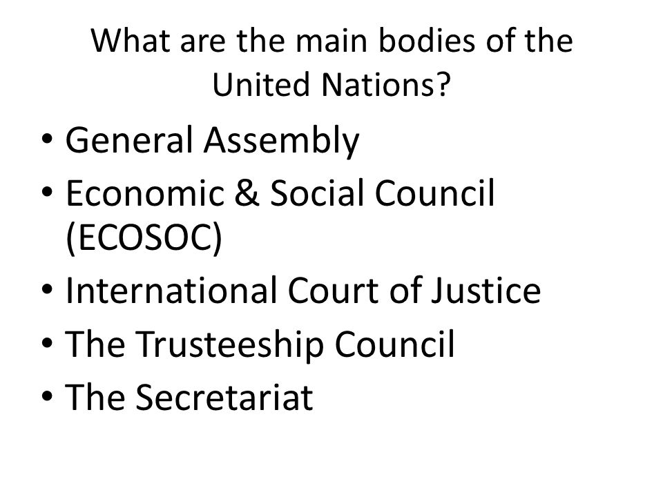 What are the main bodies of the United Nations