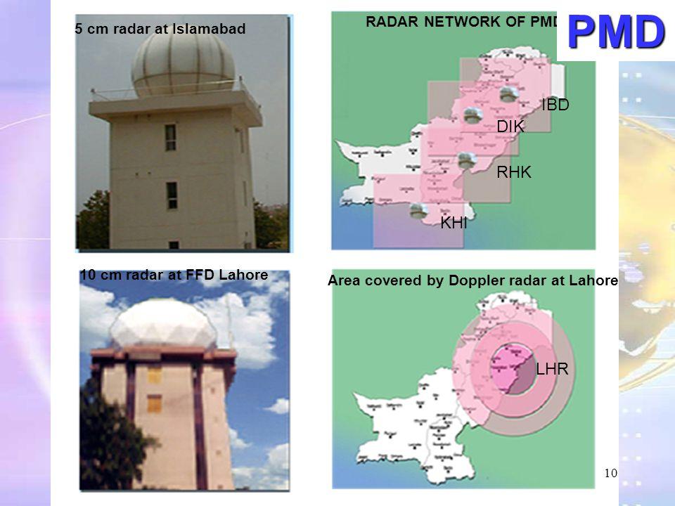 PMD IBD DIK RHK KHI LHR RADAR NETWORK OF PMD 5 cm radar at Islamabad