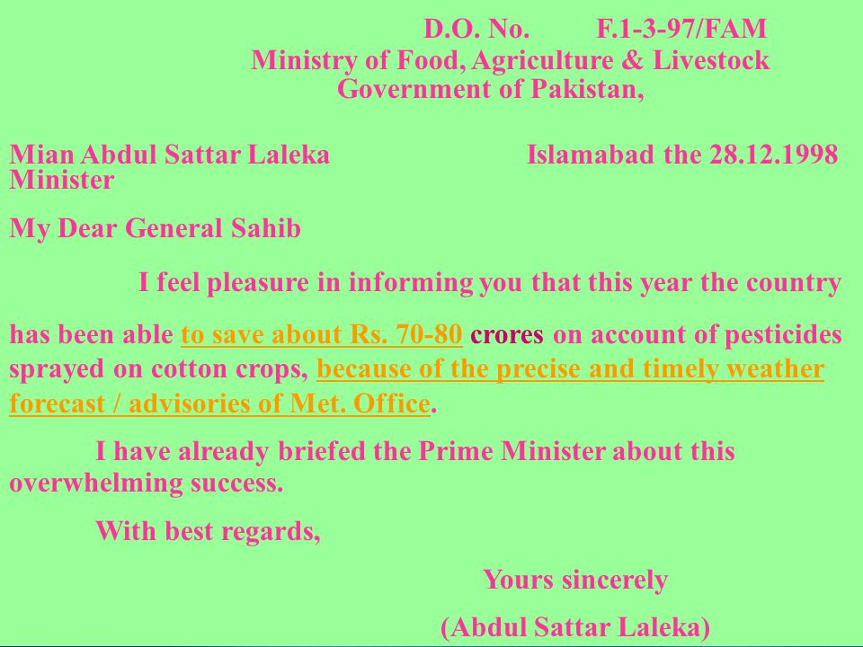 D.O. No. F.1-3-97/FAM Ministry of Food, Agriculture & Livestock. Government of Pakistan, Mian Abdul Sattar Laleka Islamabad the 28.12.1998.