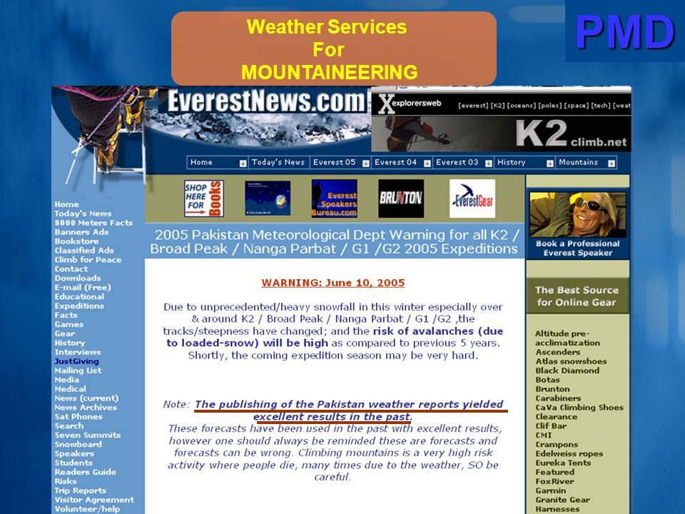 PMD Weather Services For MOUNTAINEERING
