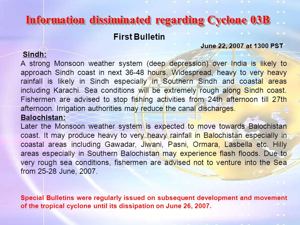 Information dissiminated regarding Cyclone 03B