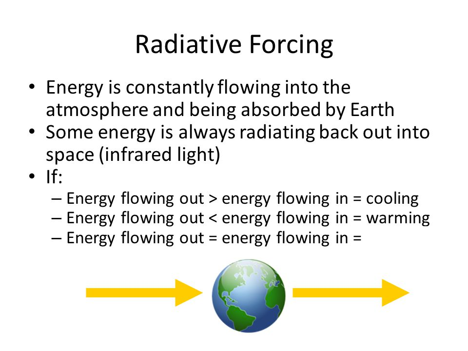 Radiative Forcing Energy is constantly flowing into the atmosphere and being absorbed by Earth.