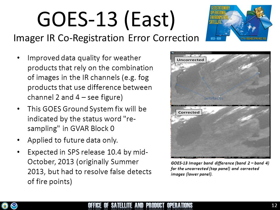GOES-13 (East) Imager IR Co-Registration Error Correction