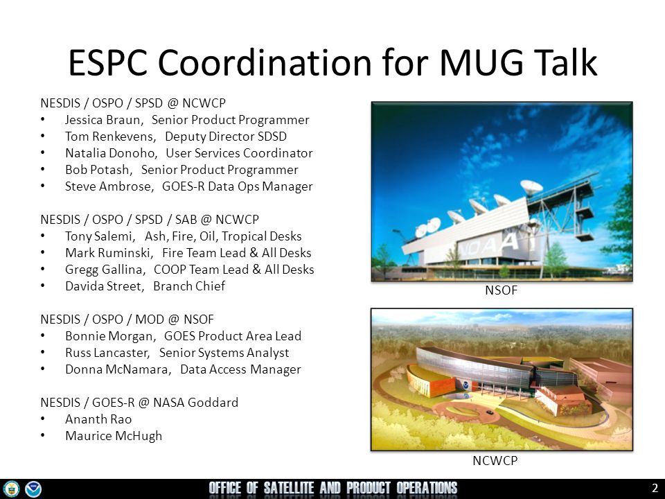 ESPC Coordination for MUG Talk