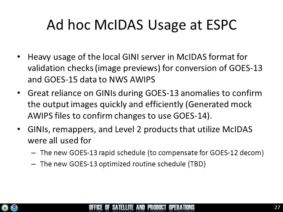 Ad hoc McIDAS Usage at ESPC