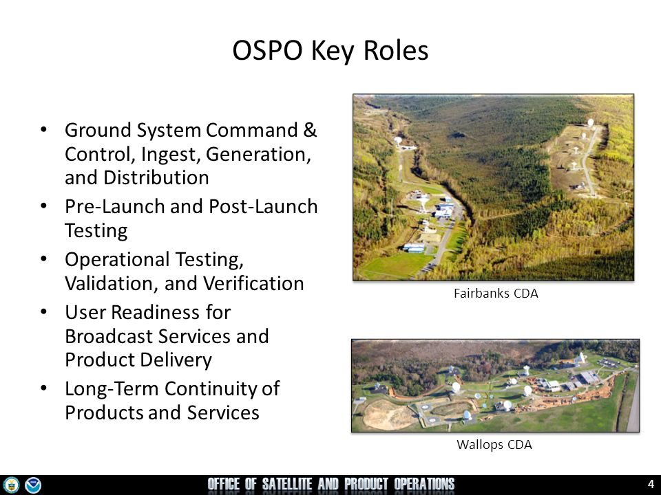 OSPO Key Roles Ground System Command & Control, Ingest, Generation, and Distribution. Pre-Launch and Post-Launch Testing.