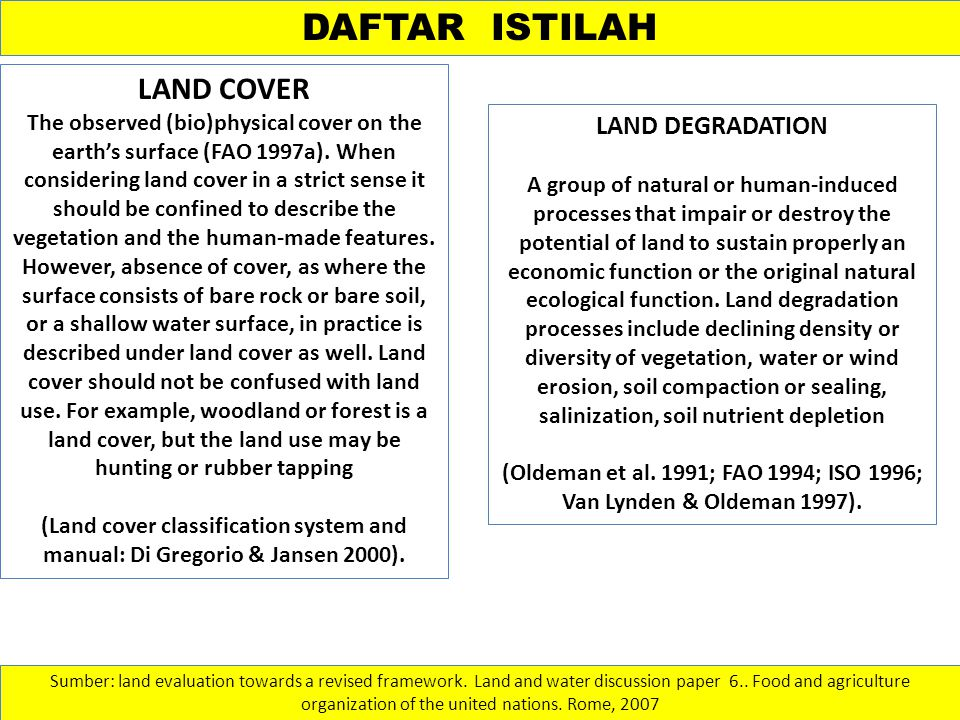 (Oldeman et al. 1991; FAO 1994; ISO 1996; Van Lynden & Oldeman 1997).