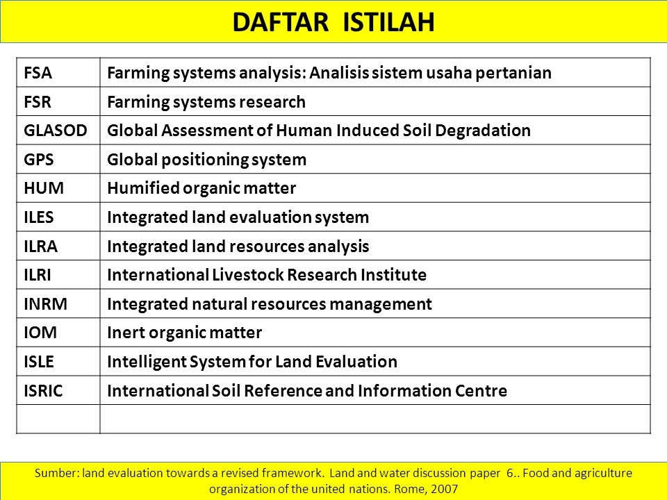 DAFTAR ISTILAH FSA. Farming systems analysis: Analisis sistem usaha pertanian. FSR. Farming systems research.