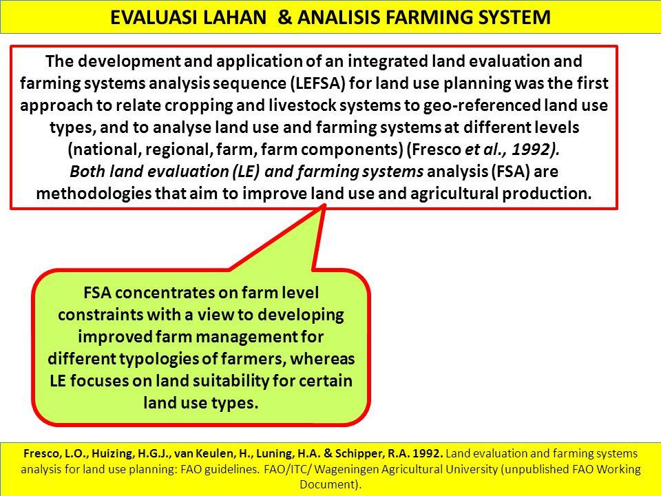 EVALUASI LAHAN & ANALISIS FARMING SYSTEM